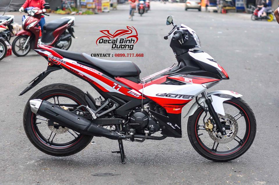 Decal Xe Exciter 150 Trắng Đỏ BremBo